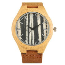 Trendy Bamboo Wristwatch, Handmade Leather Strap Bamboo Watch for Women Men, Casual Quartz Bamboo Wristwatch