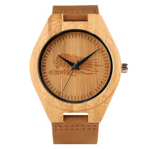 Wooden Wacth, Nature Wrist Watch Quartz Watch, Genuine Leather Band Fashion Carving Bamboo Clock