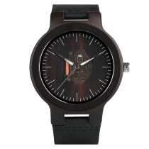 Wooden Watch Unique Men Ebony Zebra Wood Quartz Analog Soft Leather Sport Wood Wristwatches, Bamboo Wristwatch Bracelet