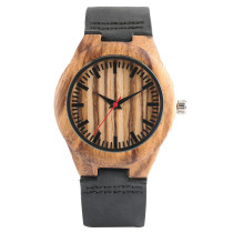 Nature Ladies Quartz Wristwatch, Zebra Stripes Wooden Case Genuine Leather Strap, Bamboo Wristwatch Bracelet