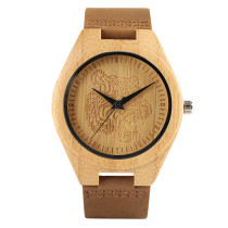 Watches for Men, Tiger Head Theme Bamboo Wooden Wrist Watch, Casual Nature
