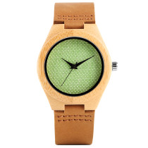 Women Wooden Wristwatch, Nature Handmade Bamboo Wooden Quartz Clock, Genuine Leather Band Bamboo Wristwatch Bracelet