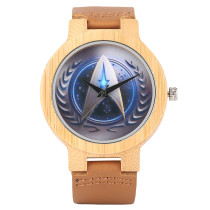 Star Trek Bamboo Wrist Watch, Men Handmade Nature Watches, Genuine Leather Band Bamboo Wristwatch Bracelet