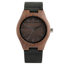 Simple Coffee Wood Case Ladies Watches, Genuine Leather Band Elegant Bamboo Wrist Watch, Bamboo Wristwatch Bracelet