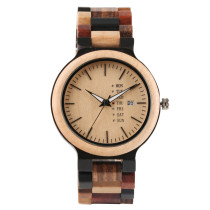 Colorful Wood Wrist Watch, Date Display Unique Full Wooden Men's Wrist Watch Gift, Bamboo Wristwatch Bracelet
