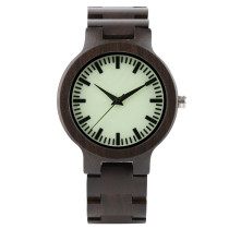Mens Wood Watch, Full Ebony Wooden Band Quartz Watches, Creative Luminous Bamboo Wristwatch Bracelet