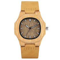 Bamboo Wooden Watch, Men Unique Genuine Leather Band Quartz Creative Watches, Bamboo Wristwatch Bracelet