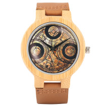 Casual Wooden Watch, Dr. Who Ancient Magic Dial Simple Men Women Sport Wristwatch, Bamboo Wristwatch Bracelet