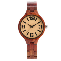 Wooden Watch, Full Red Sandalwood Women's Bracelet Watches, Quartz Ladies Watch Wooden Handmade