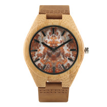 Bamboo Wooden Watch, Marble Dial Wood Wrist Watch Casual Gunine Leather Strap, Bamboo Wristwatch Bracelet