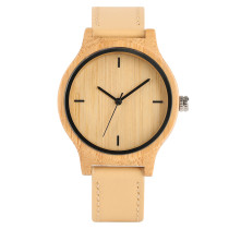 Women Watches, Casual Hand-made Wooden Wristwatch, Ladies Girl Real Leather Band