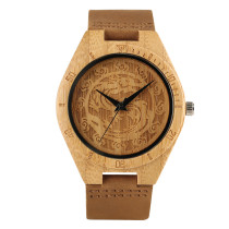 Watches for Men, Carving Dragon Nature Bamboo Wood Men's Wrist Watch