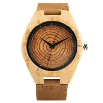 Bamboo Watch, Natural Wood Watch Unique Growth Ring Dial Retro Crafts Mens Watches, Bamboo Wristwatch Bracelet
