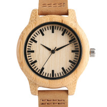 Wooden Watches For Woman, Nature Wood with Casual Quartz Bamboo Watch, Genuine Leather Bamboo Wristwatch Bracelet