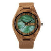 Wooden Watch, Unique Marble Dial Quartz Watch Men's Bamboo Wood Wrist Watches, Birthday Gift Bamboo Wristwatch Bracelet