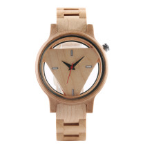 Wood Watch, Triangle Shape Wood Wristwatch for Men Women, Full Wooden Quartz Watch
