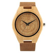 Watches for Men, Natural Wooden Carving Bamboo Analog Quartz Wrist Watch, Creative Men Lion Head