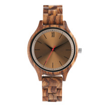 Men's Watch, Full Wood Watch with Red Second Hand Coffee Dial Watch for Men Women, Casual Business Wristwatch