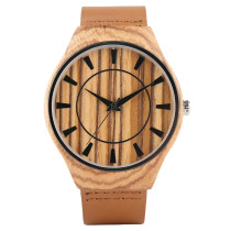 Wooden Watches, Creative Design Dial Hand-made Mens Quartz Wood Watch, Genuine Leather Band Bamboo Wristwatch Bracelet