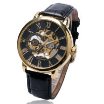 FORSINING Men's Watch, Hollow Skeleton Mechanical Hand Winding with Leather Strap Wrist Watches, Gift Watch for Men