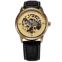 FORSINING Gold Dial Men Watches Blue Skeleton Point Design Fashion Automatic Self-Wind Skeleton Watch