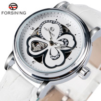 FORSINING Women's Watch, Fashion Four-Leaf Clover Pattern Dial Design Leather Wrist Watch, Gift for Men