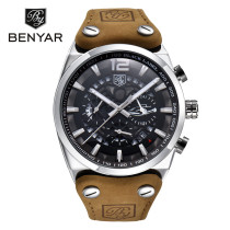 BENYAR Fashion Brand Men's Watch Chronograph Date Sport Casual Leather Strap Wrist Watches, Watch for men