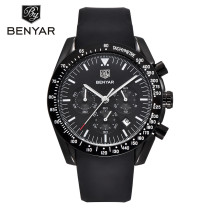 Fashion Sport Chronograph Silicone Strap Quartz Watches for Father's Gift