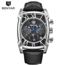 BENYAR Watch, Classic Sport Chronograph Men Watches Leather Band Waterproof Quartz Wrist Watch, Gift for Men