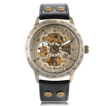 Men Watch, Self-winding Mechanical Wrist Watch Luxury Style Skeleton with Leather Strap, Gift for Men