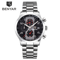 BENYAR Men's Watch, Chronograph Quartz Waterproof Wristwatch, Stainless Steel Wristband Sport Watch for Men Women