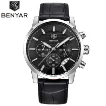 BENYAR Luxury Watch, Chronograph Genuine Leather Band Men Business Quartz Wrist Watch, Watch for Men