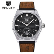 BENYAR Luxury Men's Watch, Brown Genuine Leather Strap Business Men's Watches Quartz Clock