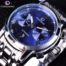 Forsining Men's Watch, Waterproof Blue Ocean Dial Design Full Steel Calendar Display Fashion Mens Wrist Watch, Automatic Watch Top Brand Luxury Clock