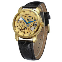 WINNER Watch, Fashion Automatic Mechanical Gold Dial Wrist Watch, Watch Leather Band for Men