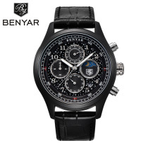 BENYAR Fashion Chronograph Watch, Date Day Stainless Steel Quartz Leather Strap Men's Wrist Watch