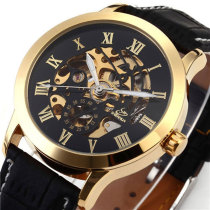 Mens Watch, Luxury Self-winding Mechanical Leather Band Hollow Dial Roman Number Wrist Watch, Watch for Men