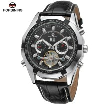 Forsining Watch, Men's Montre Homme Day/Week/24Hours Tourbillion Auto Mechanical PU Leather Watches Wristwatch, Gift for Men