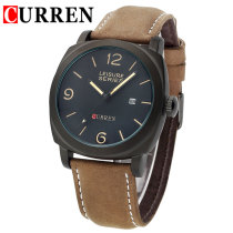 Curren Wristwatch, Brown Leather Strap Watch for Men Women, Casual Outdoor Sports Military Men's Quartz Watches
