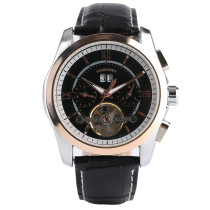 FORSINING Watch, Black Genuine Leather Men Skeleton Automatic Date Mechanical Wrist Watch, Watch for Men
