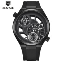 BENYAR Dual Time Zone Hollow Rubber Band Men Aviator Quartz Wrist Watch Gift Box