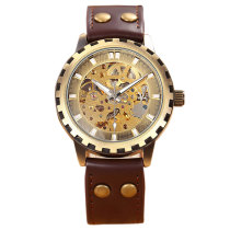 Vintage Retro Watch, Skeleton Self-Wind Mechanical Leather Band Wrist Watch, Gift Watch for Men
