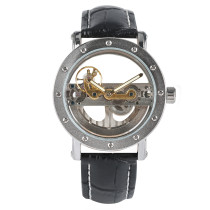 Men's Watch, Transparent Skeleton Hollow Automatic Black Sport Wrist Watches Clock, Gift for Men