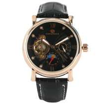 FORSINING Watch, Moon Phase Tourbillon Leather Strap Men Luxury Wrist Watch, Watch Gift for Men
