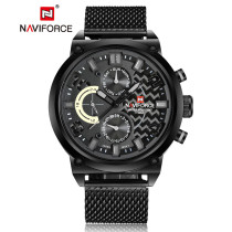 Naviforce Men's Watch, Stainless Steel Analog Men's Quartz Date Clock Military Wrist Watch, Gift for Men
