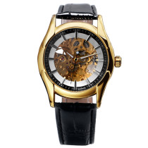 WINNER Top Luxury Men's Golden Skeleton Mechanical Wrist Watch