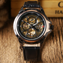 WINNER Black Mens Watch, Luxury Skeleton Leather Hand-Winding Mechanical Wrist Watches, Gift for Men