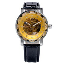 Golden Men's Watch, Dial Crystal Black Leather Skeleton Automatic Mechanical Wrist Watch, Gift for Men