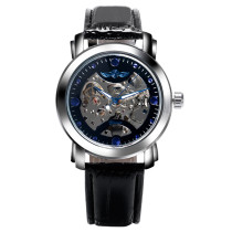 WINNER Watch, Men Cool Mechanical Automatic Wrist Watch Fashion Black Leather, Gift for Men