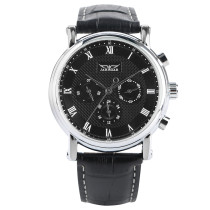 Luxury Watch,Black Genuine Leather Band Round Dial Automatic Mechanical Wrist Watch, Gift for Men